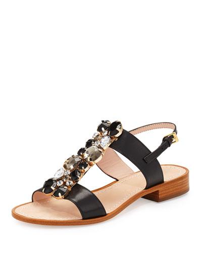 brigit jeweled flat t-strap sandal, black