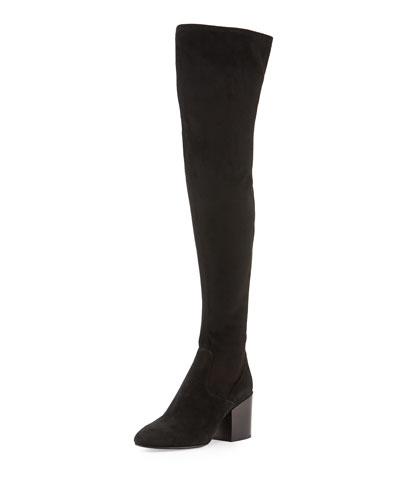 Elisa Chunky-Heel Over-the-Knee Boot, Black