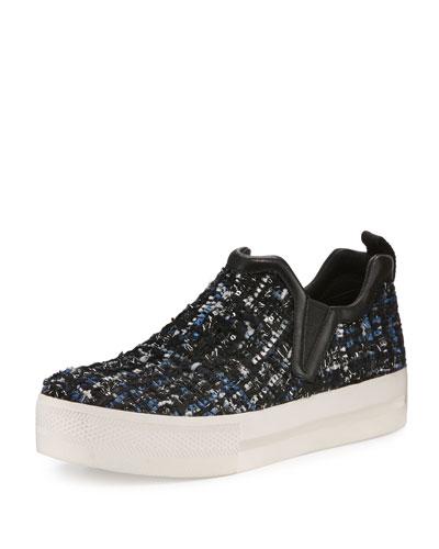 Joy Tweed Platform Skate Sneaker, Black/Blue