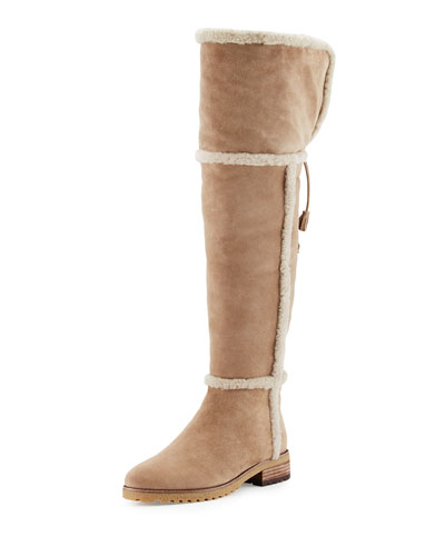 Tamara Shearling Over-The-Knee Boot, Taupe