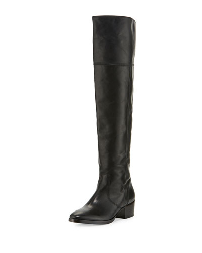 Clara Leather Over-the-Knee Boot, Black