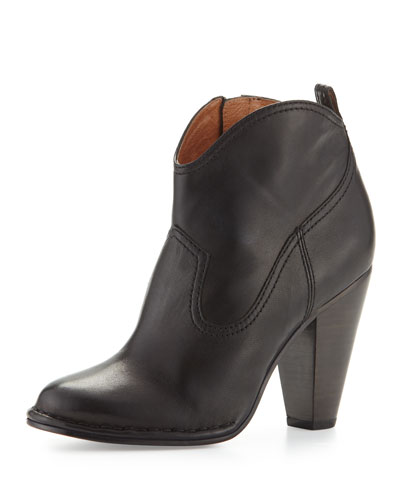 Madeline Leather Ankle Boot, Black