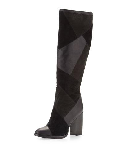 Claude Patchwork Knee Boot, Black/Multi