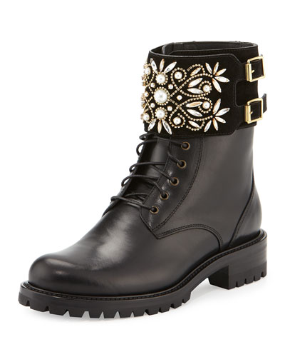 Crystal-Cuff Leather Biker Boot, Black