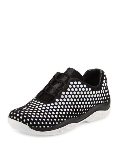 Laser-Cut Suede Lace Up Sneaker, Black/White (Nero/Bianco)