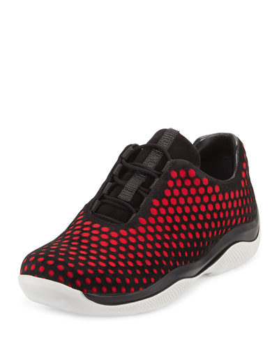 Laser-Cut Suede Lace Up Sneaker, Black/Red (Nero/Fuoco)