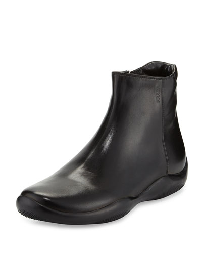 Leather Wavy-Bottom Ankle Boot, Nero