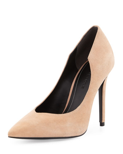 Abi Pointed-Toe Suede Pump, Blush