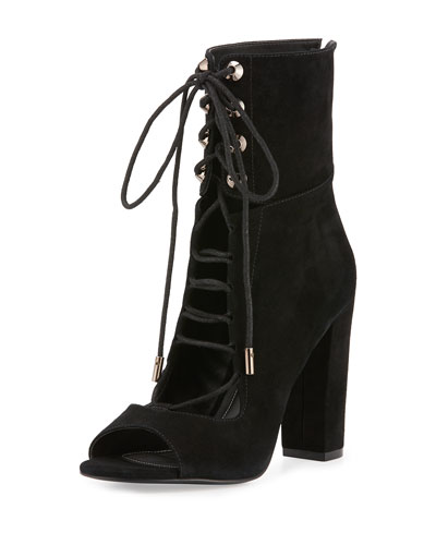 Ella Lace-Up Block-Heel Bootie, Black