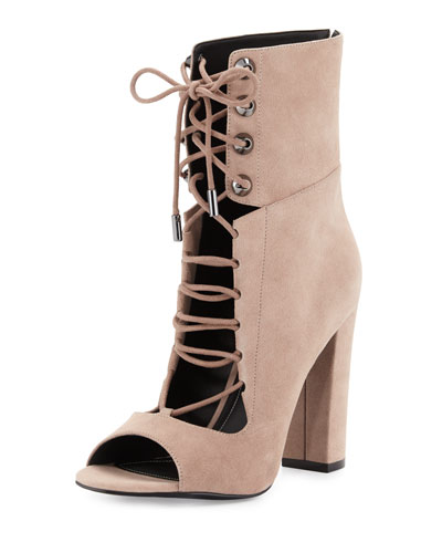 Ella Lace-Up Block-Heel Bootie, Dark Modern Beige