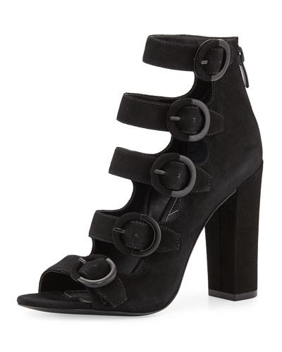 Evie Suede Multi-Buckle Sandal, Black