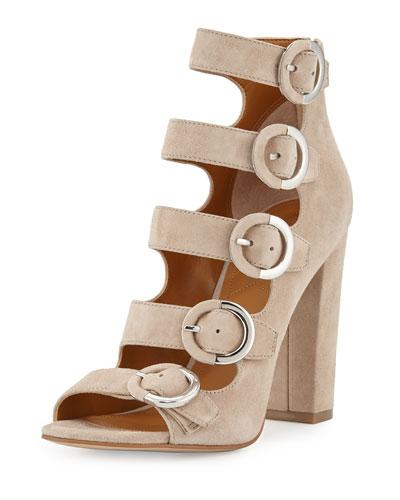 Evie Suede Multi-Buckle Sandal, Sand
