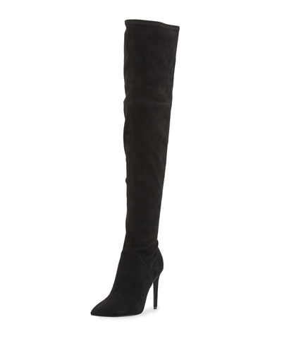 Ayla Suede Over-The-Knee Boot, Black