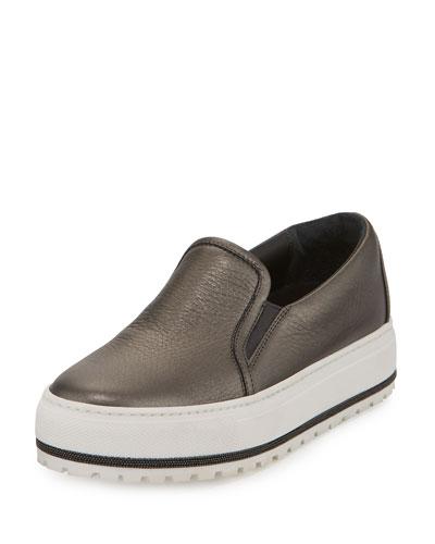 Monili-Trim Leather Platform Sneaker, Gunmetal