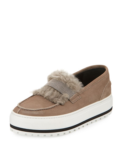 Fur-Trim Monili Platform Sneaker, Brown