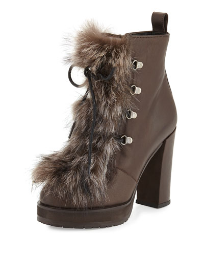 Fox-Fur Lace-Up Hiker Boot, Brown