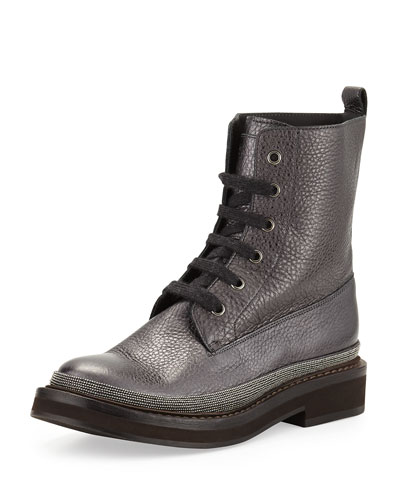 Monili-Trim Lace-Up Boot
