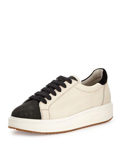 Monili/Leather Low-Top Sneaker, Dessert