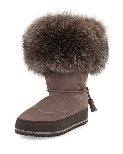 Fur-Trim Monili Ankle Boot, Mauve