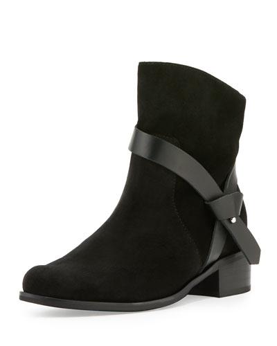 Genni Suede Ankle-Strap Bootie, Black