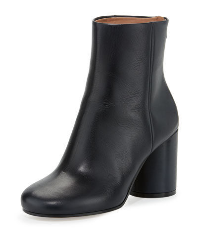 Leather Cone-Heel Ankle Boot, Navy