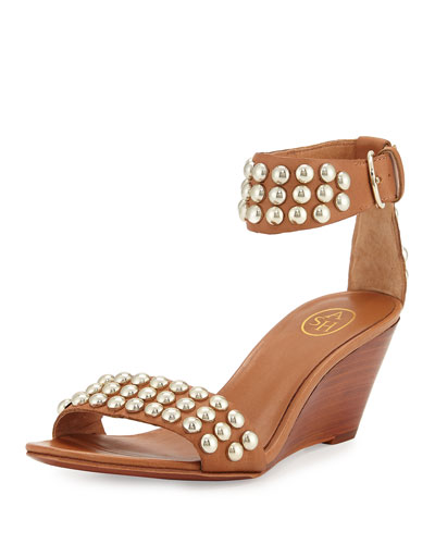 Dune Studded Demi-Wedge Sandal, Camel