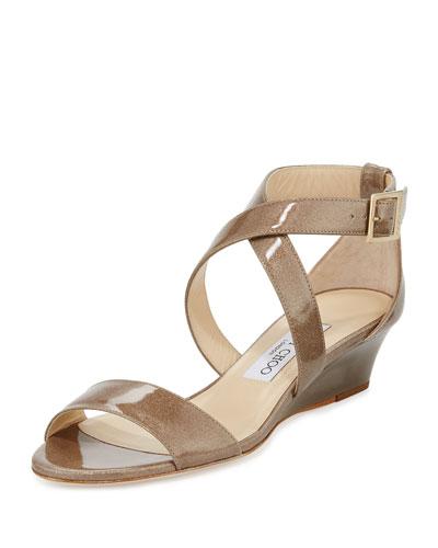 Chiara Glitter Crisscross Wedge Sandal, Sand