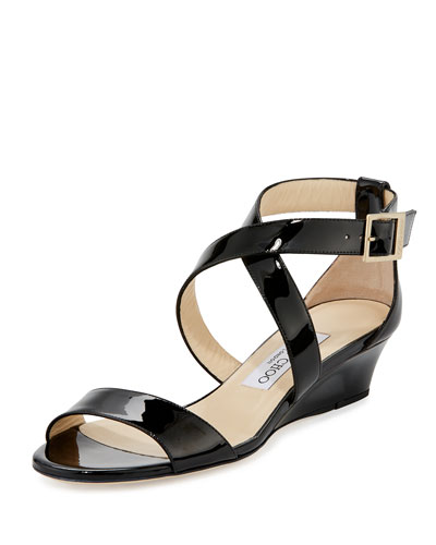 Chiara Patent Crisscross Wedge Sandal, Black