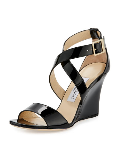 Fearne Patent Crisscross Wedge Sandal, Black