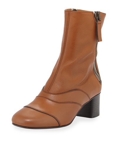 Side-Zip Leather 50mm Ankle Boot, Tan