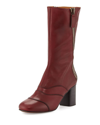 Side-Zip Leather 70mm Mid-Calf Boot, Deep Plum