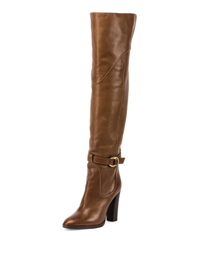 Buckle Leather Over-The-Knee Boot, Dark Khaki