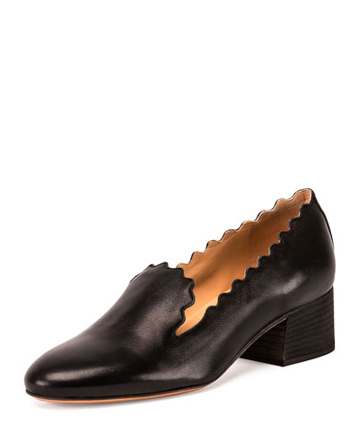 Scalloped Leather 40mm Loafer, Black