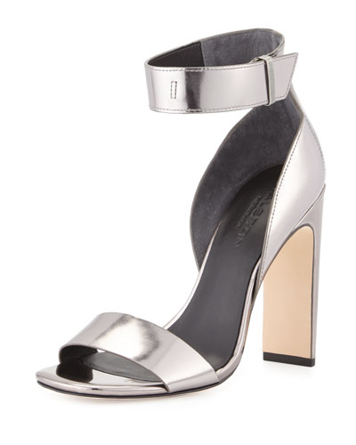Marylan Mirrored-Leather Sandal, Anthracite