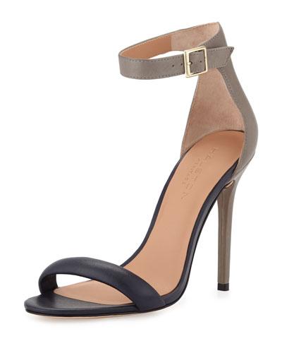 Ester Colorblock Leather Sandal, Navy