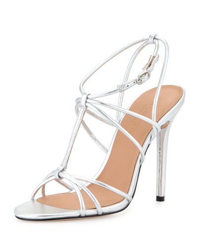 Anita Strappy Metallic Leather Sandal, Mirror Silver