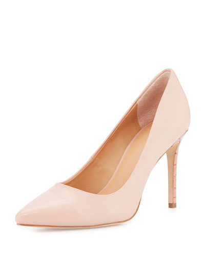 Courtney Pointed-Toe Leather Pump, Quartz Pink
