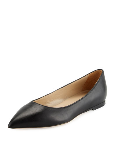 Valerie Leather Pointed-Toe Flat, Black