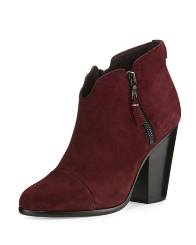 Margot Suede Ankle Boot, Burgundy