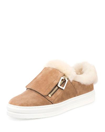 Shearling Zip Low-Top Sneaker, Tobacco
