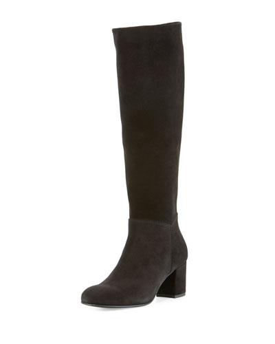Xia Suede Chunky-Heel Knee Boot, Black