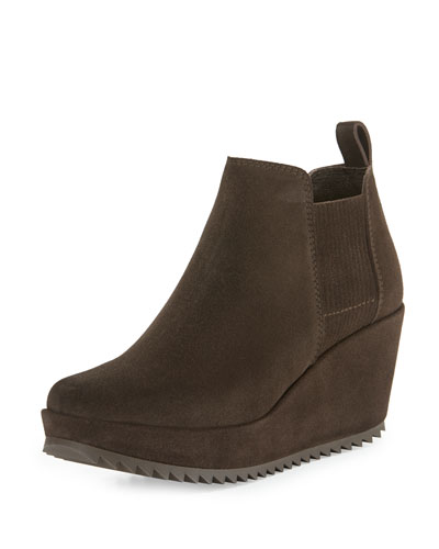 Fawn Suede Wedge Bootie, Silt Brown
