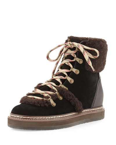 Eileen Suede & Shearling Wedge Bootie, Dark Brown/Black