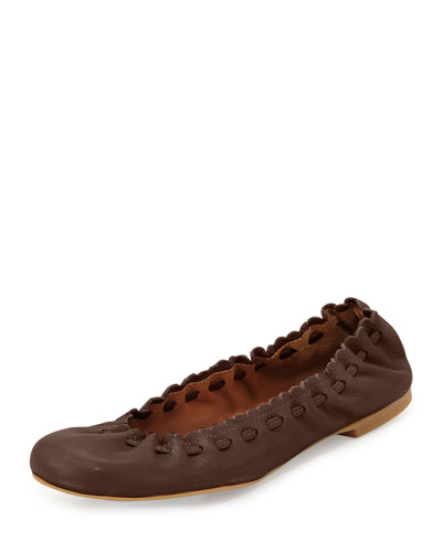 Jane Scalloped Ballerina Flat, Brown