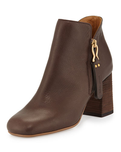 Jamie Side-Zip Ankle Boot, Dark Brown
