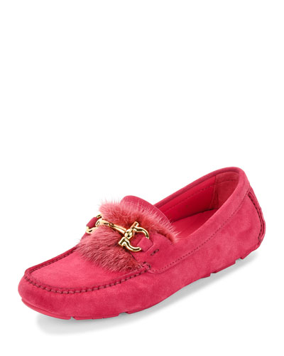 Parigi Fur-Trim Gancini Loafer, Framboise