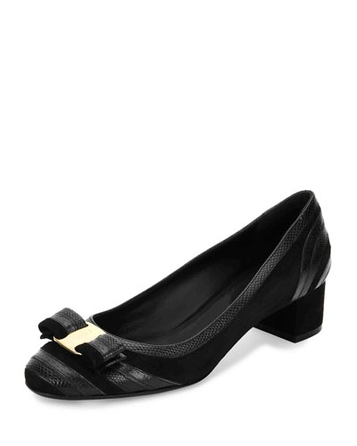 Fosca Striped 40mm Pump, Nero