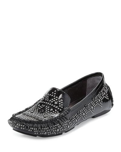 Uma Studded Patent Loafer, Black