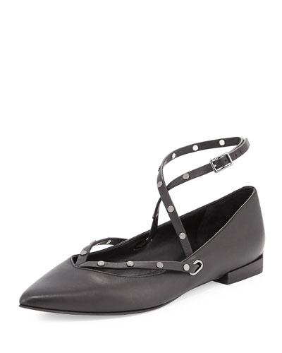 Faye Studded Leather Crisscross Flat, Black