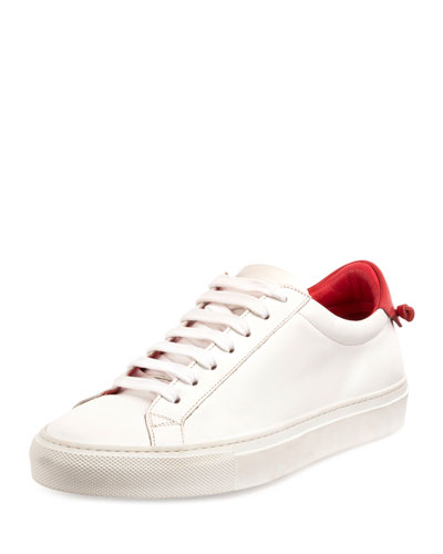 Urban Street Leather Low-Top Sneaker, White/Red